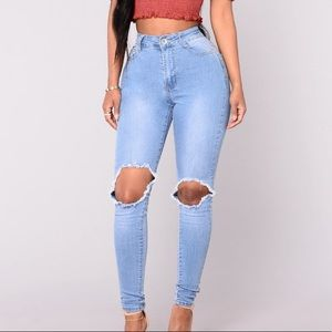 FN Blue Light Wash High Waisted Jeans